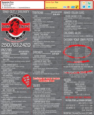 Dunnenzies Pizza (250-763-2420) - Menu