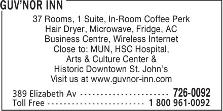 The Guvnor Inn and Pub (709-726-0092) - Annonce illustrée