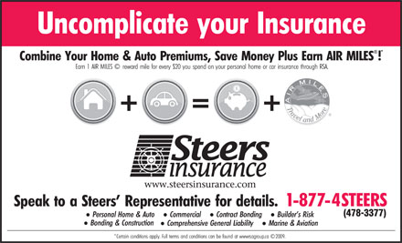 Steers Insurance Limited (1-877-478-3377) - Annonce illustr&eacute;e - (478-3377)