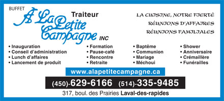 Buffet A La Petite Campagne Inc (450-629-6166) - Display Ad