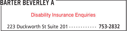 Barter Beverley A (709-753-2832) - Annonce illustrée - Disability Insurance Enquiries Disability Insurance Enquiries