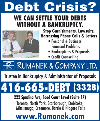 Rumanek &amp; Company Ltd - 416-665-DEBT (416-665-8326) - Annonce illustr&eacute;e