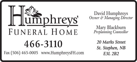 Humphreys Funeral Home (506-466-3110) - Display Ad