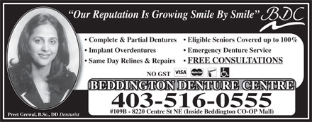 Beddington Denture Centre (403-516-0555) - Annonce illustr&eacute;e