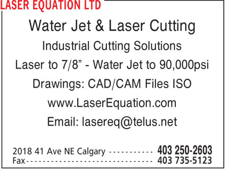 Laser Equation Inc (403-250-2603) - Display Ad