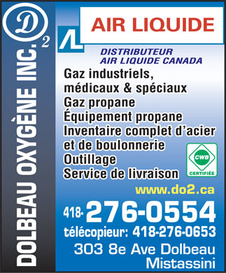 Dolbeau Oxygène Inc (418-276-0554) - Display Ad