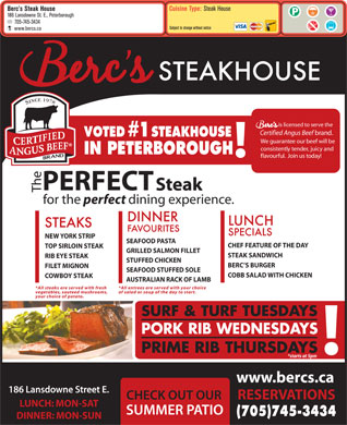 Berc's Steak House (705-745-3434) - Menu
