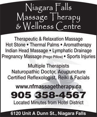 Niagara Falls Massage Therapy & Wellness Centre (905-358-4567) - Annonce illustrée