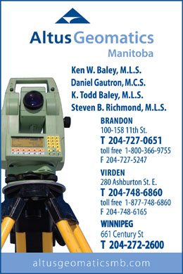 Altus Geomatics (Manitoba) Professional Land Surveyors (204-727-0651) - Annonce illustrée - WINNIPEG 661 Century St T  204-272-2600