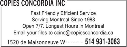 Copies Concordia Inc (514-931-3063) - Annonce illustrée======= - COPIES CONCORDIA INC