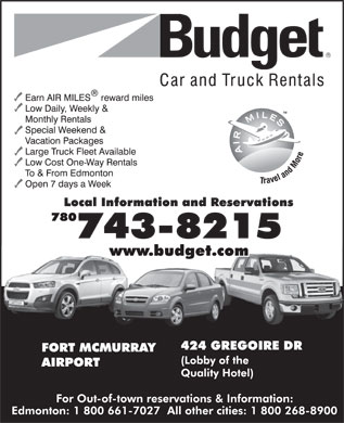 Budget Car & Truck Rentals (780-743-8215) - Display Ad