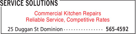 Service Solutions Commercial Kitchen Repair (902-565-4592) - Annonce illustrée - Commercial Kitchen Repairs Reliable Service, Competitive Rates
