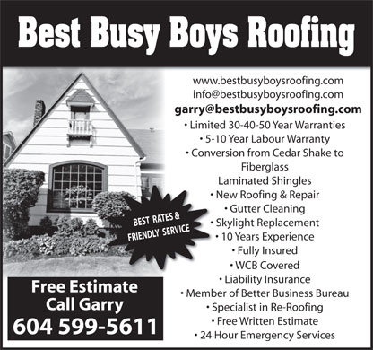 Best Busy Boys Roofing (604-599-5611) - Annonce illustrée