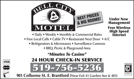 Bell City Motel (519-756-5236) - Display Ad