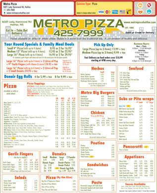 Metro Pizza (902-425-7999) - Menu