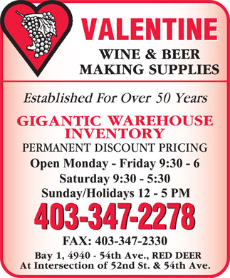 Valentine Wine & Beer Making Supplies (403-347-2278) - Display Ad