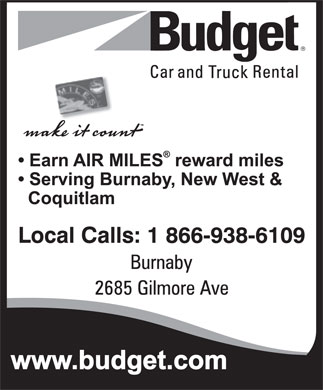 Budget Car & Truck Rental (1-866-938-6109) - Display Ad