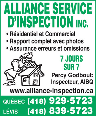 Alliance Service D'Inspection (418-839-5723) - Display Ad