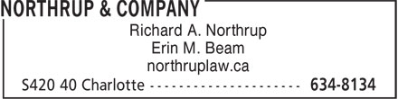 Northrup & Company (506-634-8134) - Annonce illustrée - Richard A. Northrup Erin M. Beam northruplaw.ca