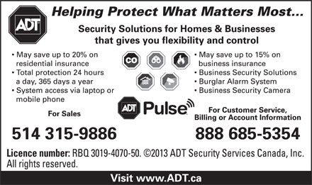 ADT Security Services Canada (1-888-685-5354) - Display Ad