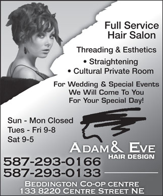 Adam & Eve Hair Design Beddington (587-293-0326) - Display Ad