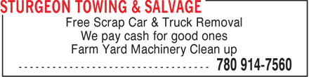 Sturgeon Towing & Salvage (780-914-7560) - Display Ad