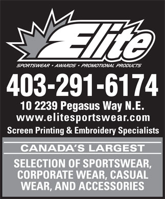 Elite Sportswear Awards & Promotional Products (403-291-6174) - Annonce illustrée - 403-291-6174 10 2239 Pegasus Way N.E.  403-291-6174 10 2239 Pegasus Way N.E.