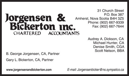 Jorgensen &amp; Bickerton Inc (902-667-9339) - Annonce illustr&eacute;e