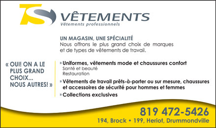 V&ecirc;tements TS Inc (819-472-5426) - Annonce illustr&eacute;e