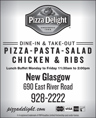 Pizza Delight (902-928-2222) - Display Ad - Lunch Buffet Monday to Friday 11:30am to 2:00pm