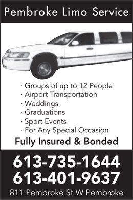 Pembroke Limo Service (613-401-9637) - Annonce illustr&eacute;e