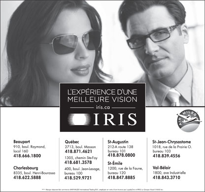 Iris Optométristes-Opticiens (418-529-9721) - Display Ad