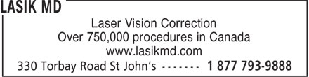 Lasik MD (1-877-793-9888) - Annonce illustrée - Laser Vision Correction Over 750,000 procedures in Canada www.lasikmd.com