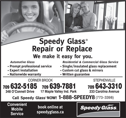 Speedy Glass (709-632-5185) - Display Ad