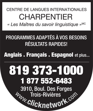 Centre De Langues Internationales Charpentier Clic (819-373-1000) - Annonce illustrée