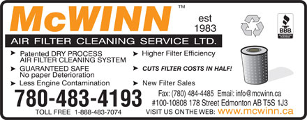 McWinn Air Filter Cleaning Service Ltd (780-483-4193) - Display Ad - Fax: (780) 484-4485  Email: info@mcwinn.ca #100-10808 178 Street Edmonton AB T5S 1J3 780-483-4193 www.mcwinn.ca