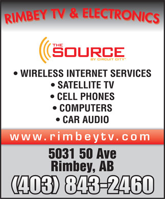 Rimbey TV &amp; Electronics (1998) (403-843-2460) - Display Ad - WIRELESS INTERNET SERVICES SATELLITE TV CELL PHONES COMPUTERS CAR AUDIO www.rimbeytv.com 5031 50 Ave Rimbey, AB (403) 843-2460