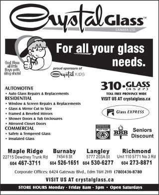 Crystal Glass Canada Ltd (604-526-1651) - Annonce illustrée