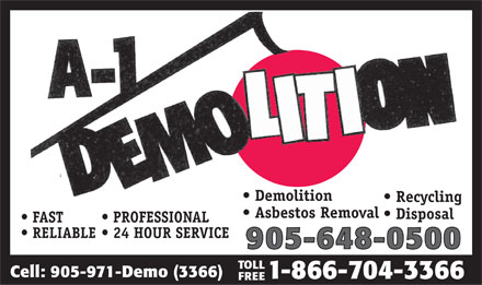A 1 Demolition (905-648-0500) - Annonce illustr&eacute;e