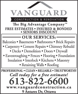 Vanguard Construction &amp; Renovation (613-822-6600) - Annonce illustr&eacute;e