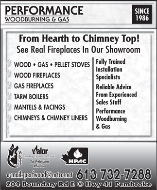 Performance Woodburning & Gas (613-732-7288) - Display Ad