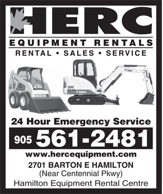 Hamilton Equipment Rental Centre (905-561-9653) - Display Ad - 24 Hour Emergency Service 905 561-2481 www.hercequipment.com 2701 BARTON E HAMILTON (Near Centennial Pkwy) Hamilton Equipment Rental Centre  24 Hour Emergency Service 905 561-2481 www.hercequipment.com 2701 BARTON E HAMILTON (Near Centennial Pkwy) Hamilton Equipment Rental Centre