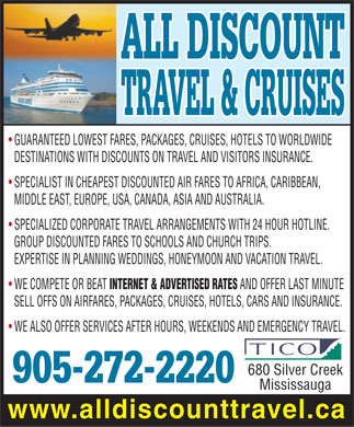 All Discount Travel And Cruises (905-272-2220) - Display Ad