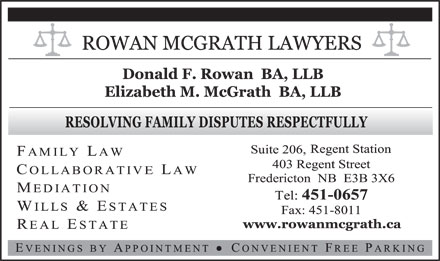 Rowan McGrath Lawyers (506-451-0657) - Annonce illustrée