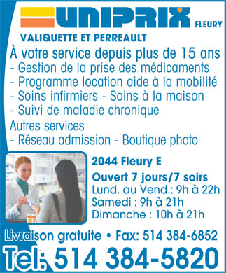 Uniprix Lyne Valiquette & Jonathan-Yan Perreault (Affiliated Pharmacy) (514-384-5820) - Display Ad