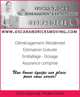 Oscar & Rick Local Moving (613-746-1082) - Display Ad