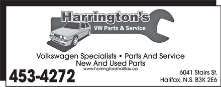 Harrington's (902-701-8043) - Display Ad - Volkswagen Specialists   Parts And Service New And Used Parts www.harringtonshalifax.ca 6041 Stairs St. Halifax, N.S. B3K 2E6