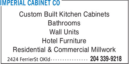 Imperial Cabinet Co (204-339-9218) - Annonce illustrée - Custom Built Kitchen Cabinets Bathrooms Wall Units Hotel Furniture Residential & Commercial Millwork  Custom Built Kitchen Cabinets Bathrooms Wall Units Hotel Furniture Residential & Commercial Millwork