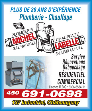 Plomberie Michel Labelle (450-691-0698) - Annonce illustrée - MORE THAN 30 YEARS EXPERIENCE Plumbing - Heating - Service - Renovation Pipe Thawing - R.B.Q.: 2326-8584-11