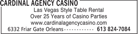 Cardinal Agency Casino (613-824-7084) - Annonce illustrée - Las Vegas Style Table Rental Over 25 Years of Casino Parties www.cardinalagencycasino.com